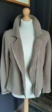 Brown Ribbed Cotton BODEN Zip Thru Collared Cardigan Jacket Size UK 12 - VGC
