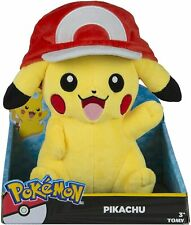 """Pokemon Pikachu in Ash's Hat Plush Stuffed Animal Toy by Tomy 10"""" Inches NEW"""