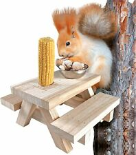 New listing Squirrel Feeder Picnic Table with Corn Cob Holder and Small Peanut Cup