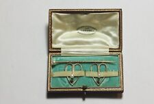 Set of pearl studs and stick pin tested 15ct gold Antique boxed