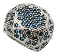 Zest Silver Metal Ring with Blue Swarovski Crystals