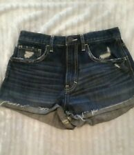 WOMENS HOLLISTER STRETCH hi waisted JEAN SHORTS distressed destroyed SIZE 3