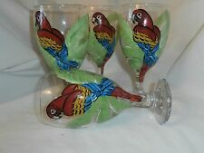 HAND PAINTED RED PARROTS IN PALM TREE ICE TEAS / SET OF 4(MADE IN THE USA)