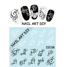 20 Adesivi Neri e Bianchi-Nail Art Stickers-Decals water transfer-Buy 3 Get 4 !!