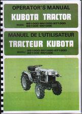Kubota b5100d/B6100D /b7100d/B5100E/B6100E TRACTEUR opérateur instruction manuel