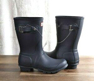 Hunter Women's Navy Matte Rubber Rain Boots Original Short 7 MED WFS1000RMA NEW