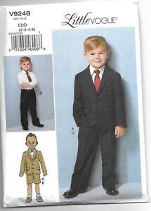Vogue V9248 2-5 Sewing Pattern Childs Suit: Jacket Long & Short Pants Toddler to