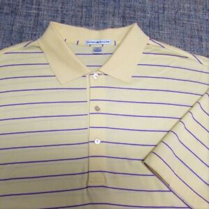 PETER MILLAR COTTON GOLF SHIRT--L--STRIPES--EXCEPTIONAL LOOK & QUALITY!!