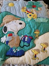 Vintage New htf Baby Snoopy Woodstock Crib Quilt Comforter SAFARI PEANUTS USA