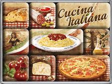 Cucina Italiana Pizza Pasta Nudeln Nostalgie 9-tlg Kühlschrank Magnet Set MAG37