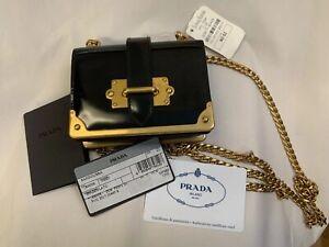 NWT Prada Cahier Micro Spazzolato Patent Leather Black Gold Crossbody MSRP $1350