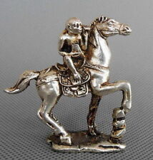 CHINESE HANDWORK MIAO SILVER CARVING MONKEY RIDE HORSE HOLD WEALTH LUCKY STATUES