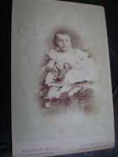 Cdv Cabinet old photograph baby toy animal by Webster at Clapham London c1890s