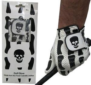 Skeleton Black Bones Cabretta Leather Golf Glove 5 Sizes 4 Gents Medium Large XL