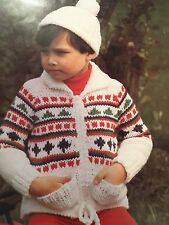 "Knitting Pattern Child's Jacket With Pockets And Hat Chunky 22-28"" Chest Vintage"