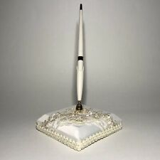"""Wedding Bridal Guest Book Ink Pen & Holder Ivory Lace Beads Ribbon 3-3/4"""" square"""