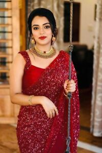 Indian Women Ethnic New Shimmer Saree Designer Sequins Sari Blouse Festive Party