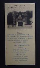 MENU CHALET SUISSE Nantes Allanic Zola 31 décembre 1934 pub Petit Breton