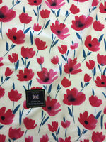 Ivory & Red Poppy Floral 100% Viscose Summer Printed Dress Fabric.