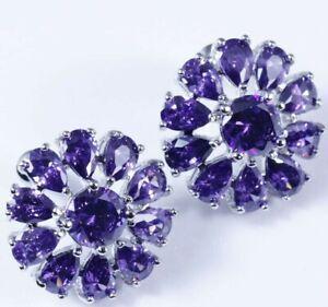 Super Size Purple Amethyst Flower Sun Disc Silver Stud Drop Earrings