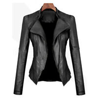 Fashion Slim Biker Motorcycle Zipper Soft PU Leather Jacket Short Women Coat