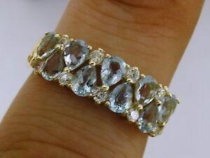 s R251 Genuine 9K Solid GOLD Natural Aquamarine Diamond Anniversary Ring size N
