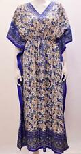 PLUS SIZE BOHO ETHNIC PAISLEY FLORAL SWIRL PRINT LONG KAFTAN DRESS DARK BLUE 30