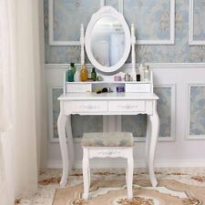 Modern Dressing Desk Makeup Table and Stool Set Dresser with Mirror & Drawer