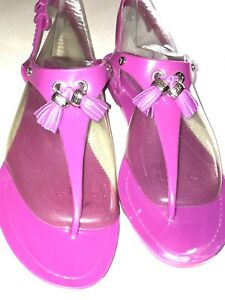 TOD's Pink Thong Jelly Sandals With Tassels - Size 7/38