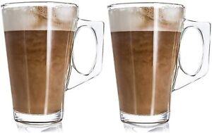 SET OF 2 LATTE GLASS 240ML HOT TEA COFFEE 11CM MUGS CUPS TASSIMO GUSTO NESPRESSO
