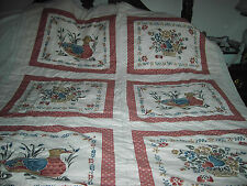 "Ready to Sew Quilt -Country Ducks and Flowers- Handmade- 52"" wide X 72"" long"