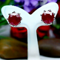 NATURAL 10 mm. ROUND BLOOD RED RUBY EARRINGS 925 STERLING SILVER