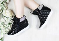 LADIES WOMENS INNER HEEL WEDGE TRAINERS DIAMANTE HIGH TOP ANKLE BOOTS SHOES SIZE