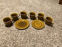 Set of 6 Homer Laughlin Coventry CASTILIAN Coffee Tea Mugs Cups Dessert Saucer