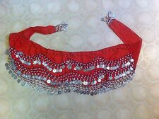 vintage scarf/belt/wrap Red Coin replicas belly dancing Costume Authentic sexy