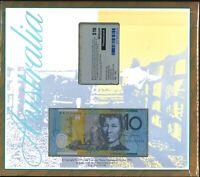 Australia Last Waltzing Matilda Deluxe Folder $10 WM95003654 +Telstra Phone Card