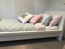 White Ikea Bed With Wood Slats   Moving sale   Quick Sale : Pick Up Asap