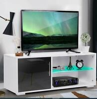 39'' Glossy Modern Minimalist LED White Living Room TV Stand Cabinet Furniture