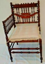 Antique Victorian Corner Chair Wooden Ornate Telephone Gossip Cushion 32x19x19