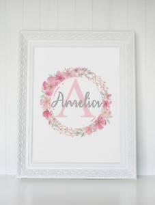 Personalised Pink Floral Name Nursery Print Bedroom Wall Art Gift Baby Girl