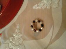 Echte Normgold Brosche mit Granat Edelsteinen und Perlen