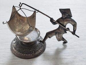 Vintage .900 Silver Vietnam Tea Strainer Figural Man Fishing Pole Russian Assay