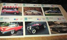 CADILLAC  Cars  Colour Collector Cards x 6 - ALLANTE etc