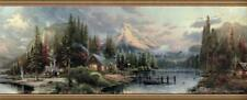 Rustic Log Cabin Scenic Campground Lake Canoe Country Outdoors Wallpaper Border