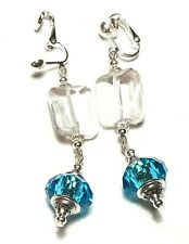 Long Drop Dangle Silver Clear & Turquoise Clip On Earrings Glass Beads