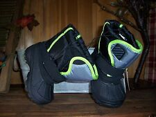 BOY TODDLER WINTER BOOTS TEMP RATED -5 SIZE 6 COLOR BLACK GREEN KIDS CASUAL SHOE