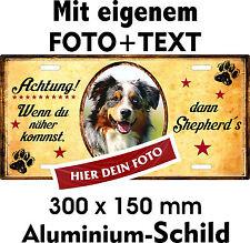 Hunde Schild gestalten eigenes Foto mit Text Beispiel Australian Shepherd Aussie