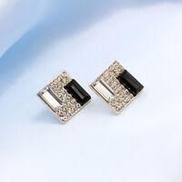 1 Pair Fashion Women Black White Rhinestone Square Ear Stud Earrings Jewelry