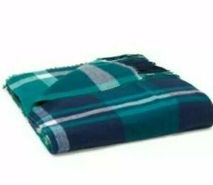 VS Pink fringe Tailgate/throw Blanket navy/green Buffalo plaid Check NEW