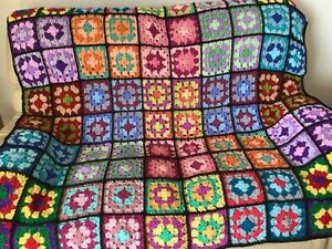 New Handmade Traditional Vintage Style Bright Granny Square Crochet Blanket